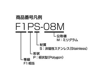 板状分銅(微小質量) 商品番号凡例